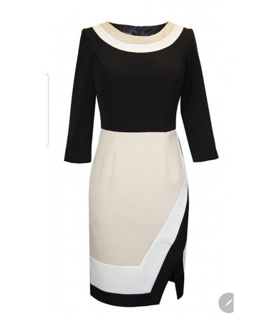 Vestido negro blanco beige