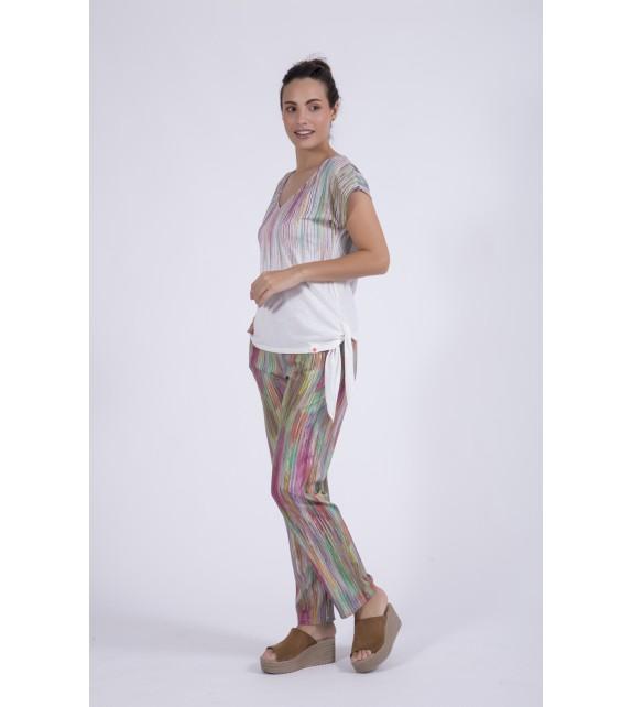 Pantalón rayas colores ancho
