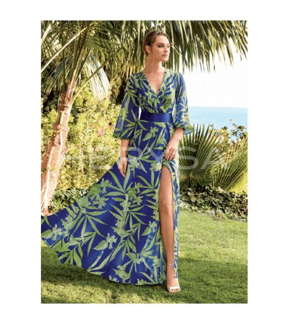 Vestido largo azulón estampado hojas verdes