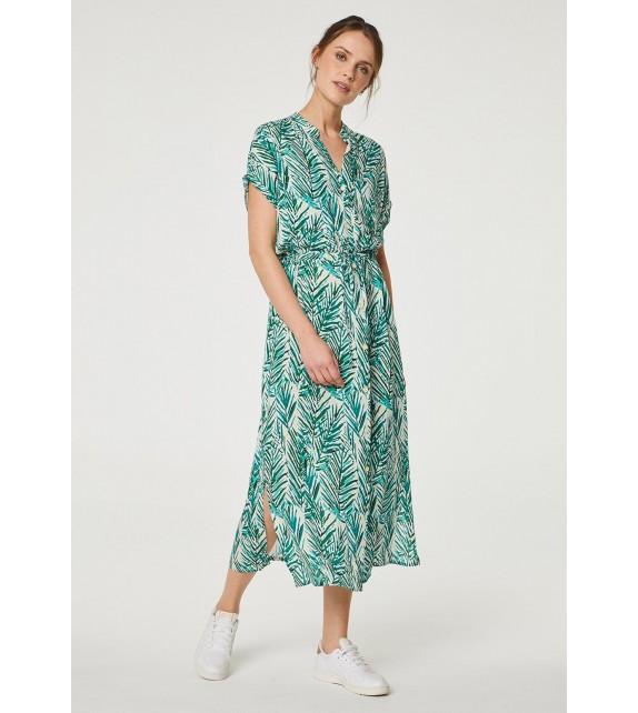 Vestido largo verde estampado