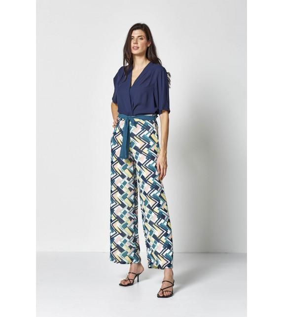 Pantalón ancho dibujos geométricos